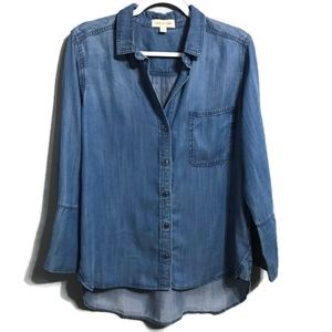 Cloth and Stone Chambray Tencel Button Up Shirt L